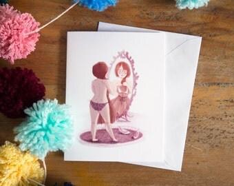 greeting card | card | lady | feminine | cute | pink | lady illustration | women | dress | gift for women | card for women | girlfriend