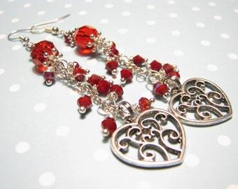 Red earrings Long Earrings Earrings dangle Beaded earrings Handmade earrings Gift for her Handmade jewelry Red jewelry Gift Crystal earrings