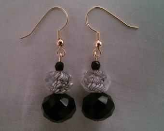 Black and White Swirl Dangle Earrings