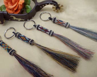 Spectacular multi-colored hitched  horsehair key chain Bold, matching colorful horsehair tassel Horsehair tassel key chain horsehair jewelry