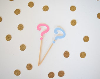 Gender Reveal Cupcake Toppers, Pink & Blue Cupcake Toppers, Gender Reveal Decor