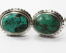 Turquoise Cufflinks 925 Sterling Silver Blue Handmade Mens Jewellery by AmoreIndia C318