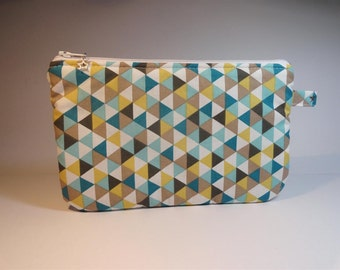 Kit flat pouch fabric triangles turquoise taupe and white mustard