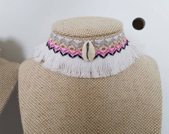 Pink  white and cowrie shell tassle  statement choker  necklace boho gypsy beach