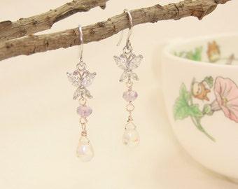 butterfly zircon  Blown glass beads  Earrings , dangle& drop, Wedding Bridal, Bridesmaid,Jewelry,gift, under25