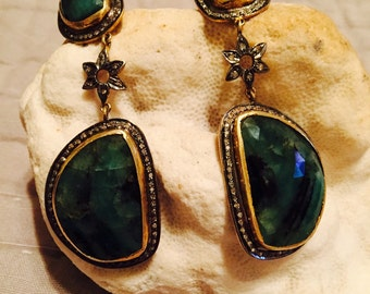 ENORMOUS EMERALD and DIAMOND Statement Earrings