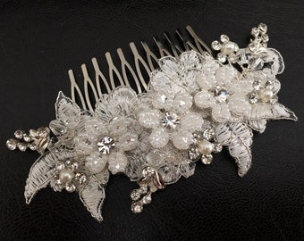 Bridal Hair Accessories, Wedding Head Piece, Ivory Lace, Pearl, Rhinestone, Comb