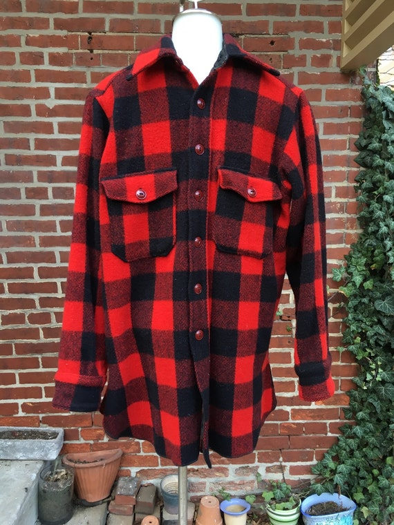 Vintage Woolrich Flannel Buffalo Plaid Shirt 1940s Mens Medium