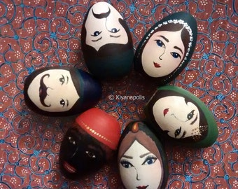 Hand Painted Wooden Eggs, Set of 6, Persian, Norooz, Persian New Year, Iranian Painting, Haft seen, Haft sin, Nowruz, Iranian New Year, iran