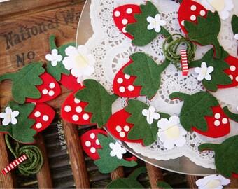 Strawberry Banner- Strawberry Garland- Strawberry Shortcake- Strawberry Bunting- Strawberries- Felt Garland- First Birthday-Strawberry-