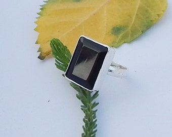 Cushion Faceted Black Onyx Gemstone 925 Sterling silver Ring , Handmade Sterling Silver Ring