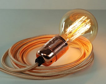 4m Rose Gold Fabric Flex Cable Plug In Pendant Lamp Light Set E27 Copper Fitting & 40w Globe Edison Bulb