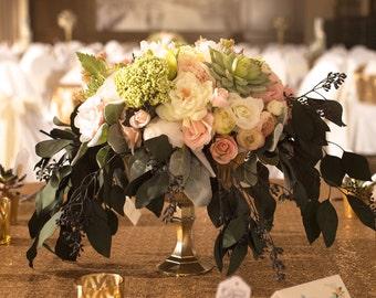 Metallic Gold Arrangement Weddings Centerpeices Floral Centrepieces Wedding Gold Votives Candle Holder Compote Pedestal Vase Mercury Glass