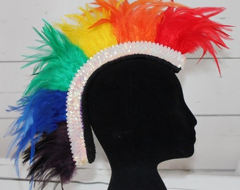Rainbow feather mohawk with sparkly trim