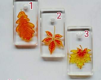 Hand painted Autumn Leaf glass pendant necklace