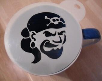 Unique bespoke new laser cut pirate coffee stencil