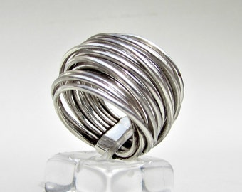 Sterling Silver Ring, Wire Wrapped, Tribal Jewelry,  Ooak ring, Metalwork Jewerly, Bohemian Rings