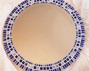 Large Round Mosaic Mirror in shades of Blue 50cm Bathroom Mirror  *Made to Order*