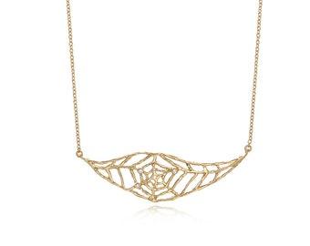 Spider web necklace, spider necklace,delicate necklace, Unique necklace, artjewelry, gold spider necklace, gold spiderweb, gold spider, gift