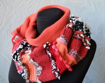 Circle knitted scarf Red coral alpaca wool scarf Striped scarf Gift for her Warm accessories Cowl neck scarf Double scarf Infinity scarf