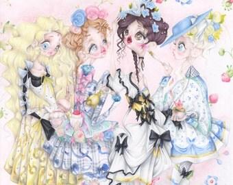 Versailles pop surrealism Ladurée fashion illustration du barry pompadour art print