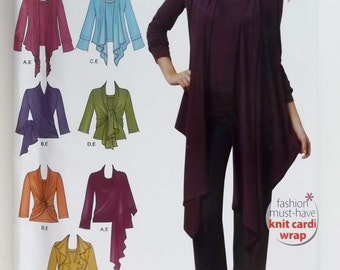 Simplicity 0493 Misses' Knit Top and cardigan Wrap with Front Variations . Medium, large, Xlarge
