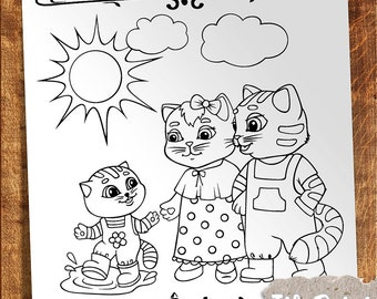Coloring page cat Kids coloring Digital coloring