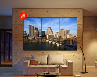 Austin Skyline wall art print prints on canvas lake in downtown Austin Texas photo art work framed art artwork