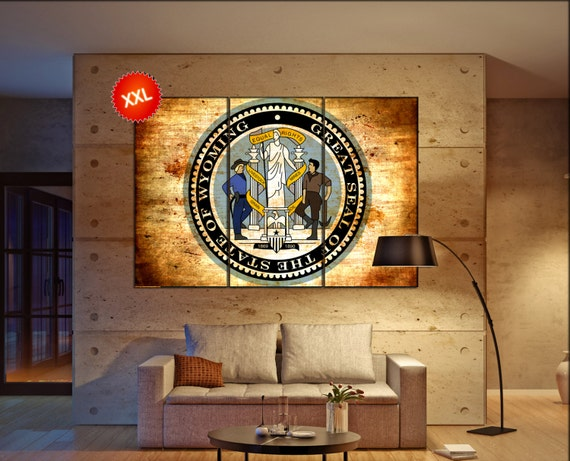 wyoming seal flag  canvas wyoming seal flag wall decoration wyoming seal flag canvas art wyoming seal flag large canvas