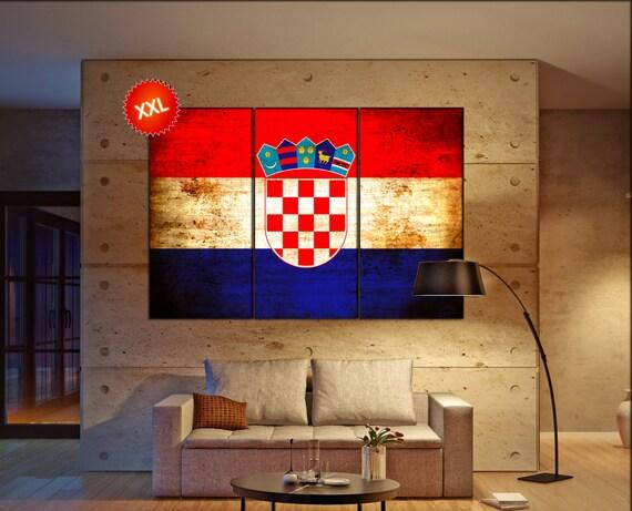 Croatia flag canvas wall art art print large  canvas wall art print Croatia country flag Wall Home office decor interior Office Decor