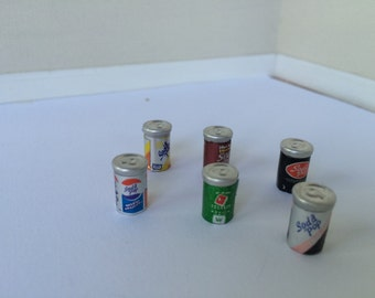 1:12th Dollhouse Miniature set of 6 soda cans