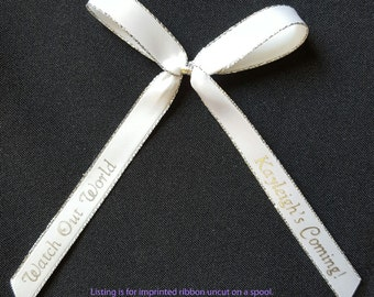 """75 Personalized 3/8"""" Metallic Edge Satin Ribbons for Wedding Favors, Birthday Favors or Baby Shower Favors"""