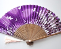 Silk Sakura and Butterfly Hand Fan with sleeve-Handheld Folding Fan, Japanese Hand Fan,folding fan,wedding pink purple,Cherry blossom