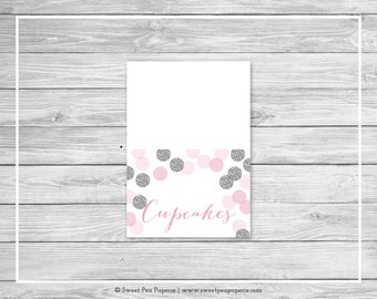 Pink and Silver Baby Shower Buffet Labels - Printable Baby Shower Buffet Labels - Pink and Silver Glitter Baby Shower - EDITABLE - SP123