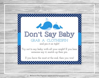 Whale Baby Shower Don't Say Baby Game - Printable Baby Shower Don't Say Baby Game - Blue Whale Baby Shower - Don't Say Baby - SP127