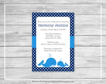Whale Baby Shower Invitation - Printable Baby Shower Invitation - Blue Whale Baby Shower - Baby Shower Invitations - Whale - SP127