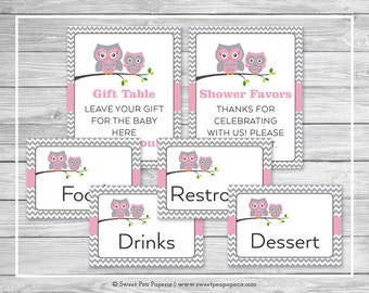 Owl Baby Shower Table Signs - Printable Baby Shower Table Signs - Pink Owl Baby Shower - Owl Shower - Baby Shower Signs - EDITABLE - SP134