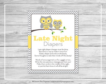 Owl Baby Shower Late Night Diapers Sign - Printable Baby Shower Late Night Diapers - Yellow Owl Baby Shower - Late Night Diaper Sign - SP133