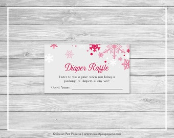Winter Wonderland Baby Shower Diaper Raffle Insert - Printable Baby Shower Diaper Raffle Cards - Winter Wonderland Baby Shower - SP115