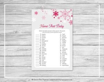 Winter Wonderland Baby Shower Name That Baby Game - Printable Baby Shower Name That Baby Game - Winter Wonderland Baby Shower - SP115