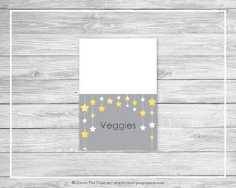 Twinkle Little Star Baby Shower Buffet Labels - Printable Baby Shower Buffet Labels - Twinkle Little Star Baby Shower - EDITABLE - SP117