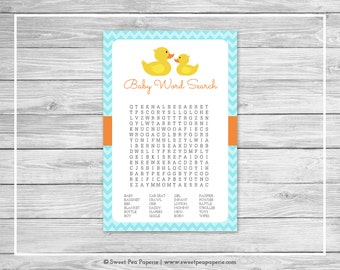 Rubber Ducky Baby Shower Baby Word Search Game - Printable Baby Shower Word Search Game - Rubber Duck Baby Shower - Baby Word Search - SP122