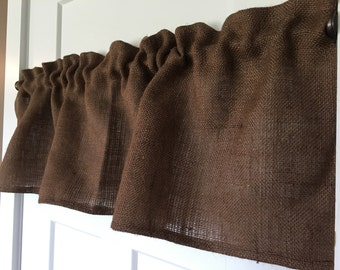 Chocolate Brown Burlap Valance