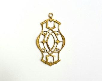 5 Pieces Filigree Drop Pendant, Raw Brass, Vintage, 32x17mm
