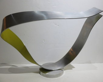 Mid-Century Modern Free Form Aluminum Sculpture With Yellow On One Side, Signed Nani.