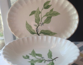 Vintage W. S. George Oval Serving Platter and Bowl
