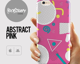Abstract Pink Pattern iPhone 6 Plus Case, iPhone 6 case, S6 case, Samsung Galaxy S7 case, 5s, 5c, retro 90s art cell phone cover