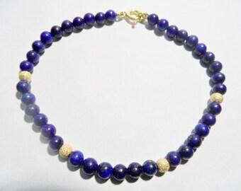 Bracelet Lapis Lazuli natural and yellow gold 18 carats