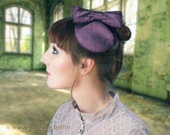 Fascinator Purple Silk Bow
