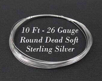 26 gauge g ga Sterling Silver Wire Round Dead Soft, 10ft